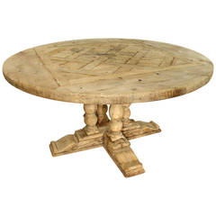 Antique Round Parquet Top Dining Table from France- Bleached Oak and Walnut
