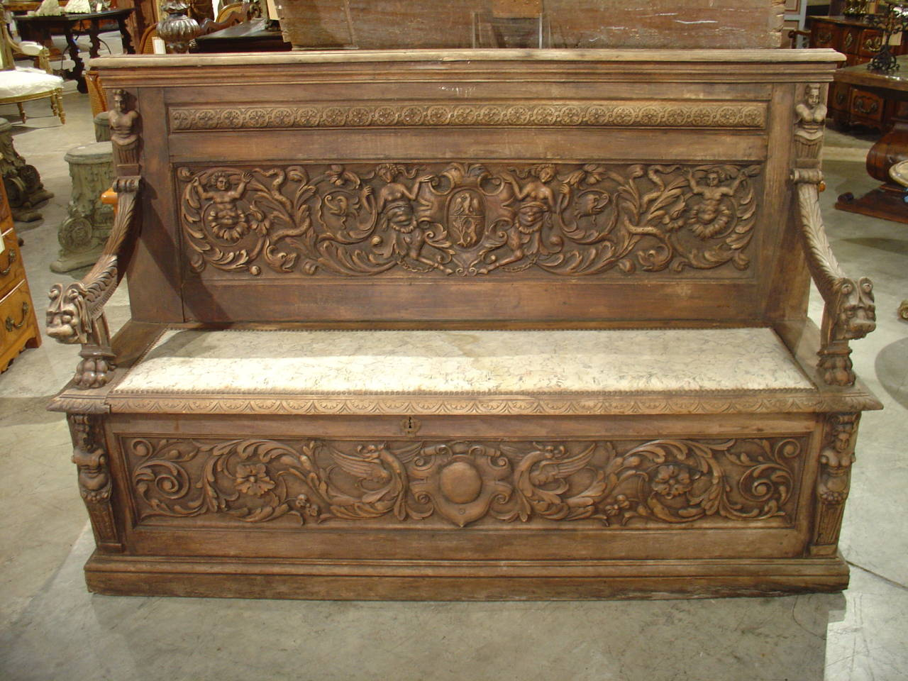 Sensational 19Th Century Renaissance Style Carved French Storage Bench Creativecarmelina Interior Chair Design Creativecarmelinacom