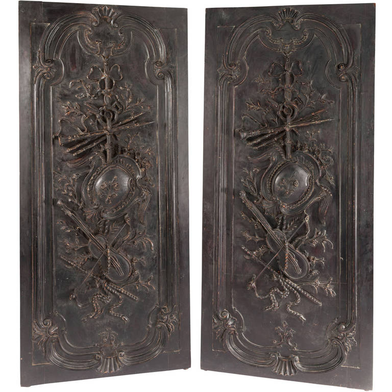 Pair of Large French Antique Door Panels with Louis XVI Trophy  Ornamentation For Sale - Pair Of Large French Antique Door Panels With Louis XVI Trophy Ornamentation