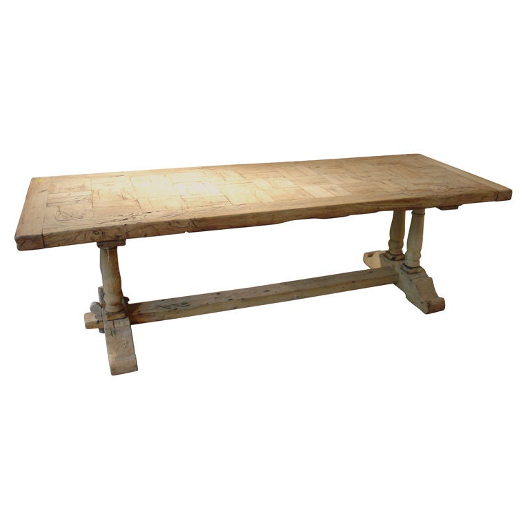 Hand Stripped Antique Oak Monastery Table