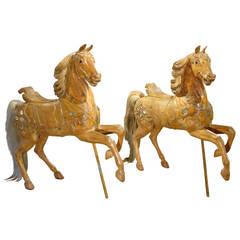 Rare Pair of 19th Century European Carousel Horse Sculptures
