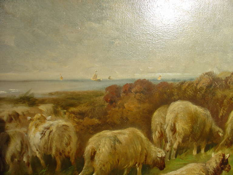 Large Antique Pastoral Oil Painting on Canvas-Henry Schouten image 2
