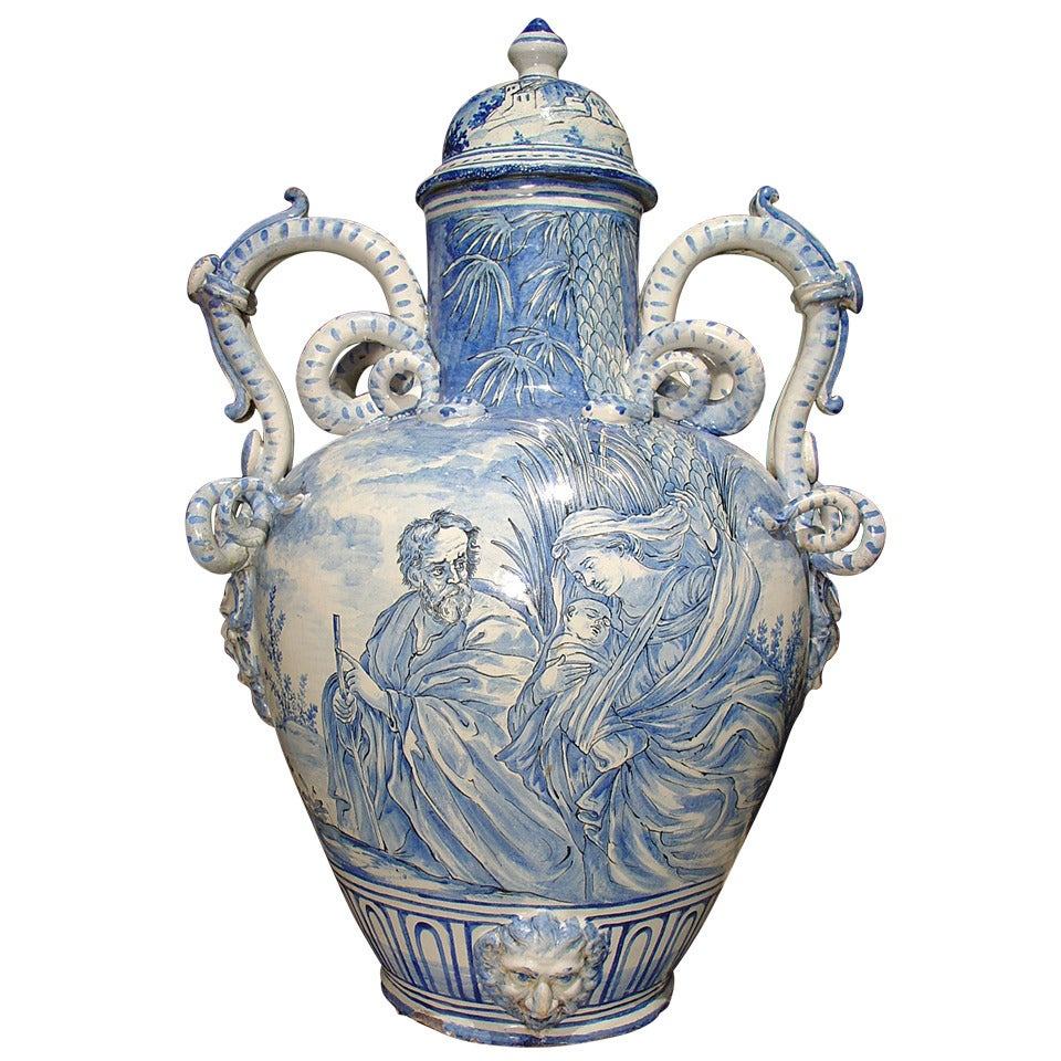 Large Blue And White Antique Majolica Vase From Italy