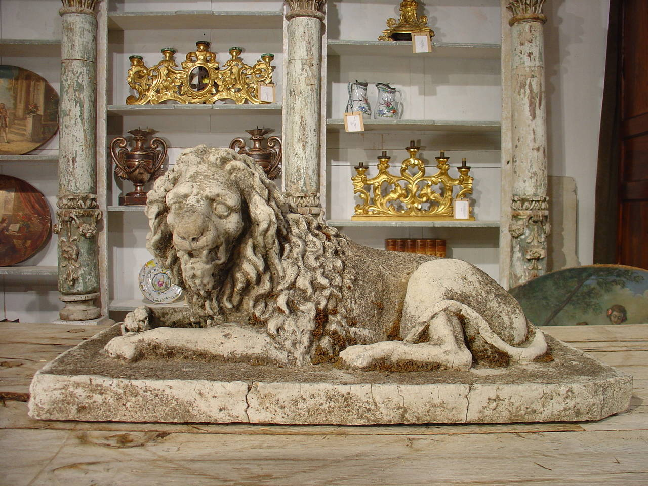 Antique Stone Lion Statue from France, circa 1860 For Sale 3