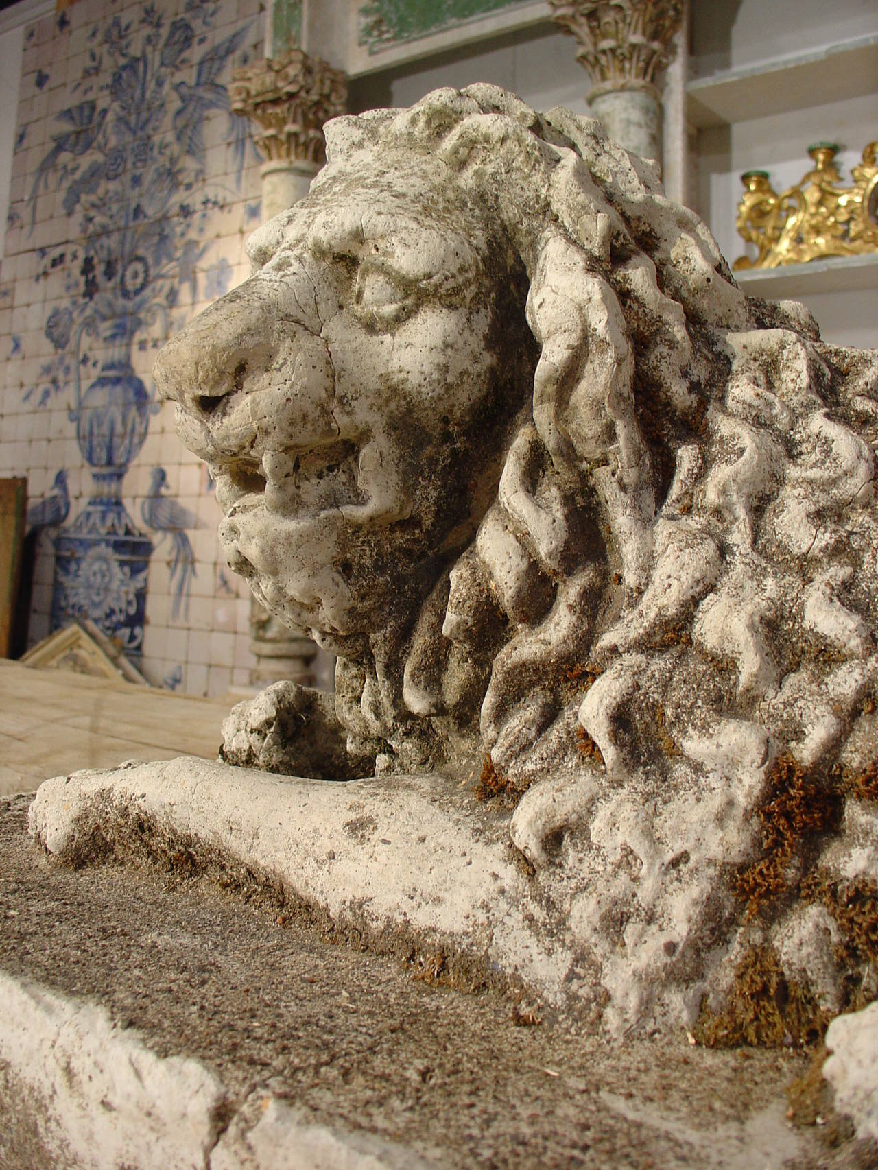 Antique Stone Lion Statue from France, circa 1860 For Sale 4