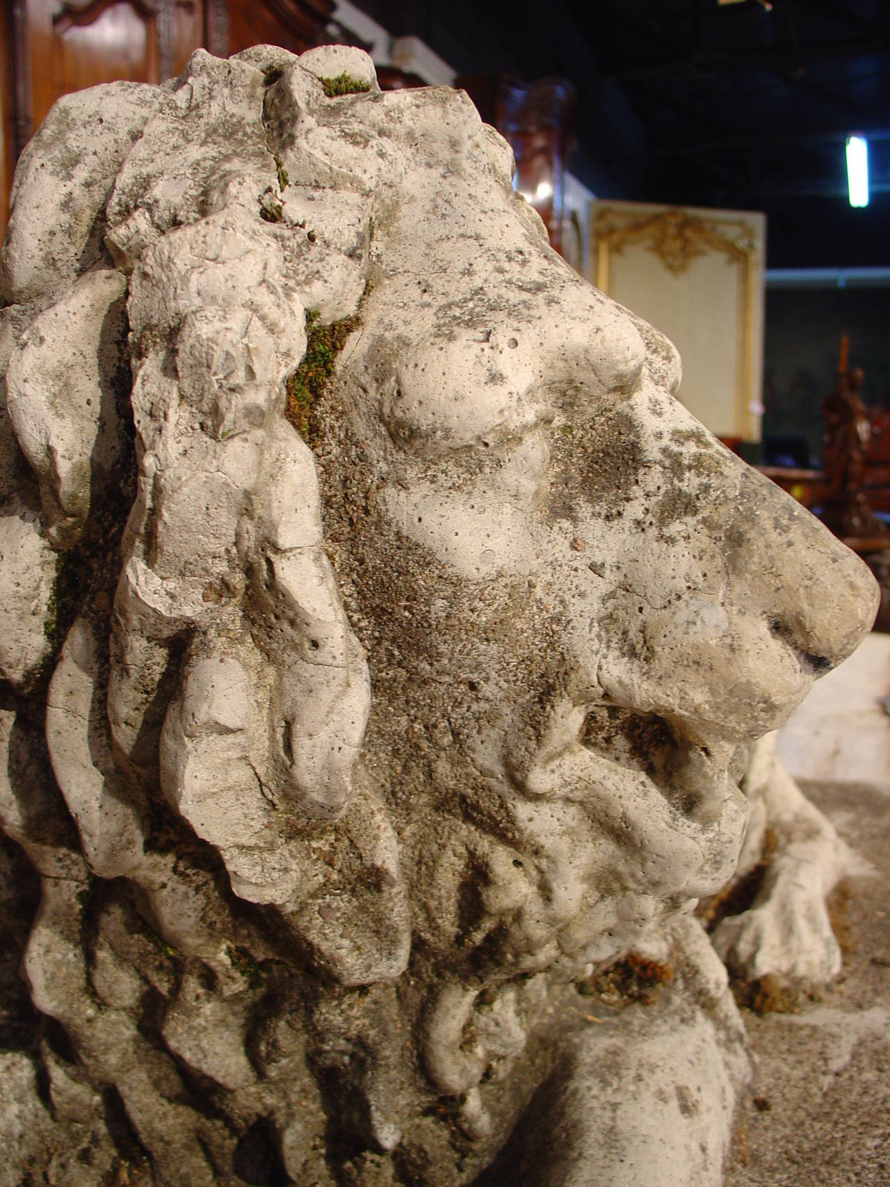 French Antique Stone Lion Statue from France, circa 1860 For Sale