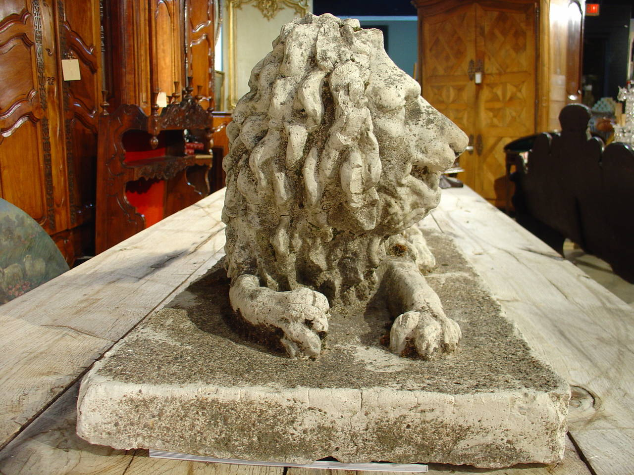 Antique Stone Lion Statue from France, circa 1860 For Sale 1