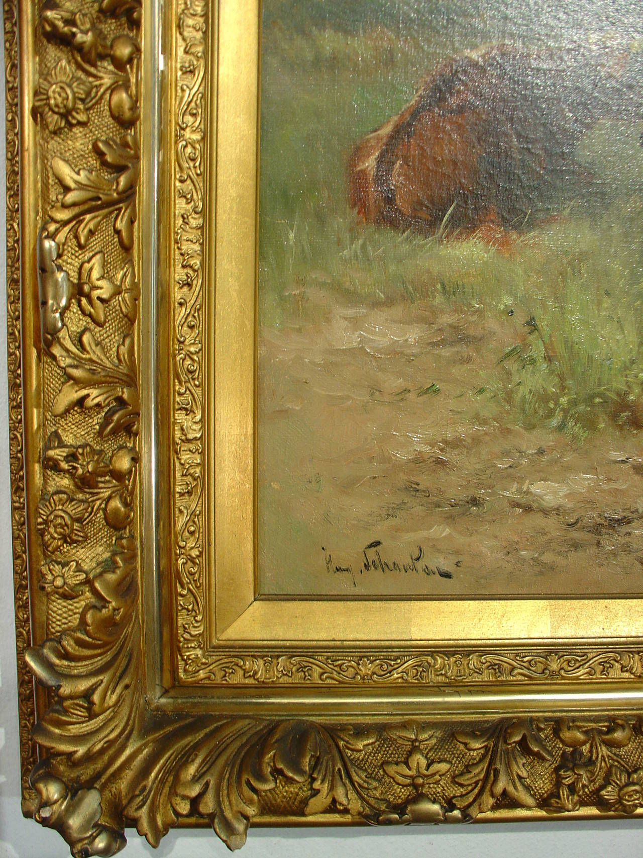 A Large Framed Antique Cow Painting By Schouten At 1stdibs