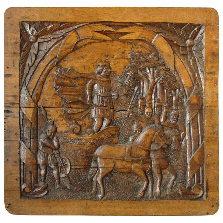 Antique Carved French Oak Panel, circa 1800