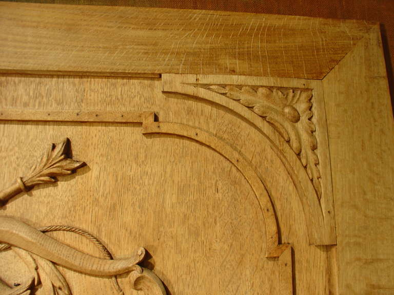 Th century carved oak bas relief architectural panel at