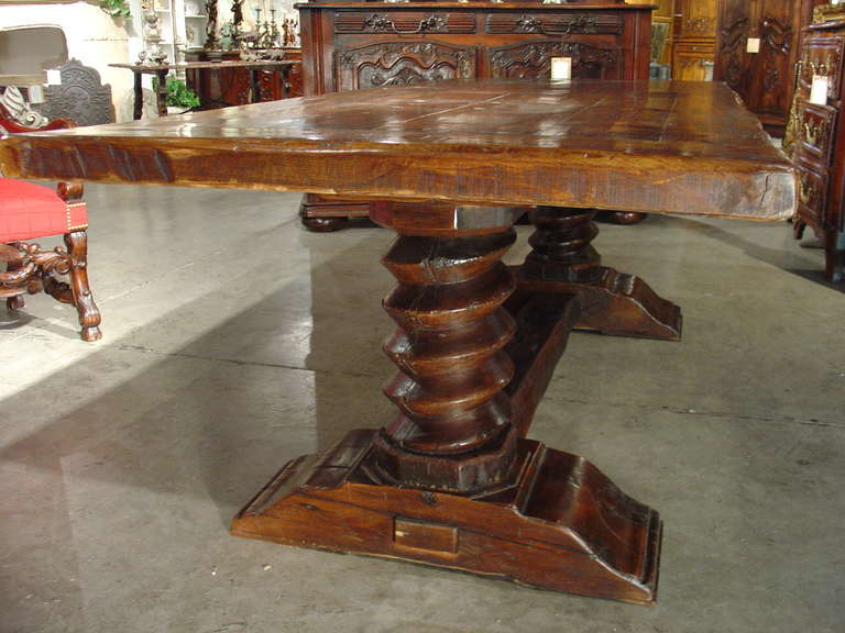 this hand carved oak dining table from france pressoir a vin is n