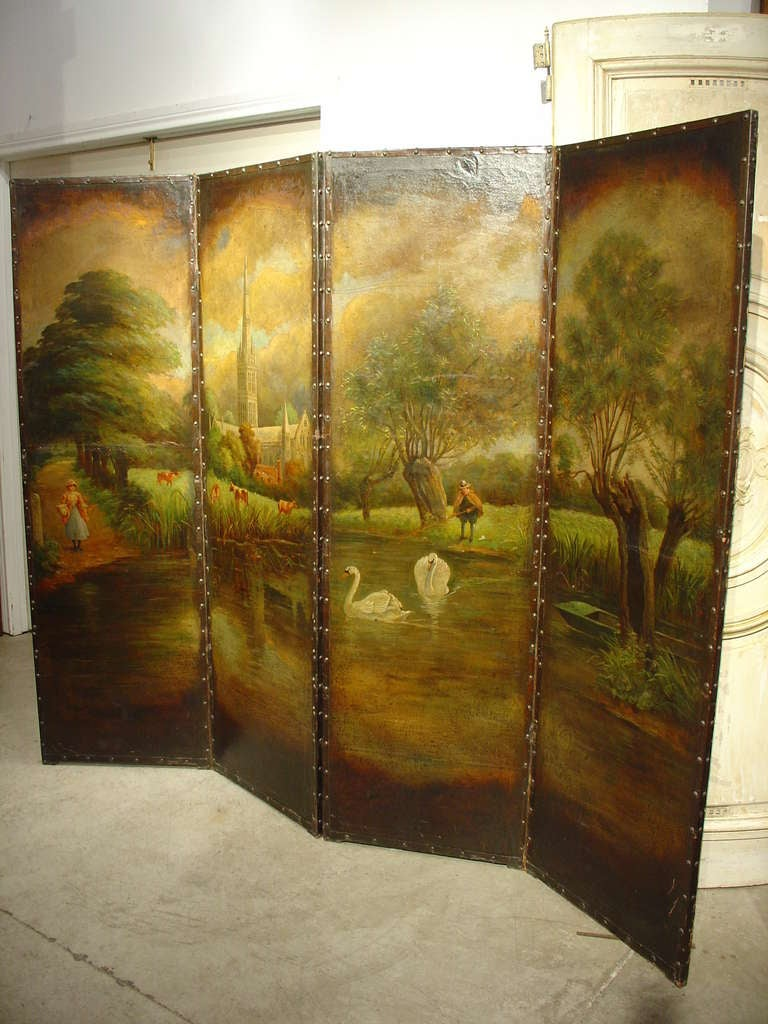 Antique painted leather screen northern france circa 1850 for Painted screens room dividers