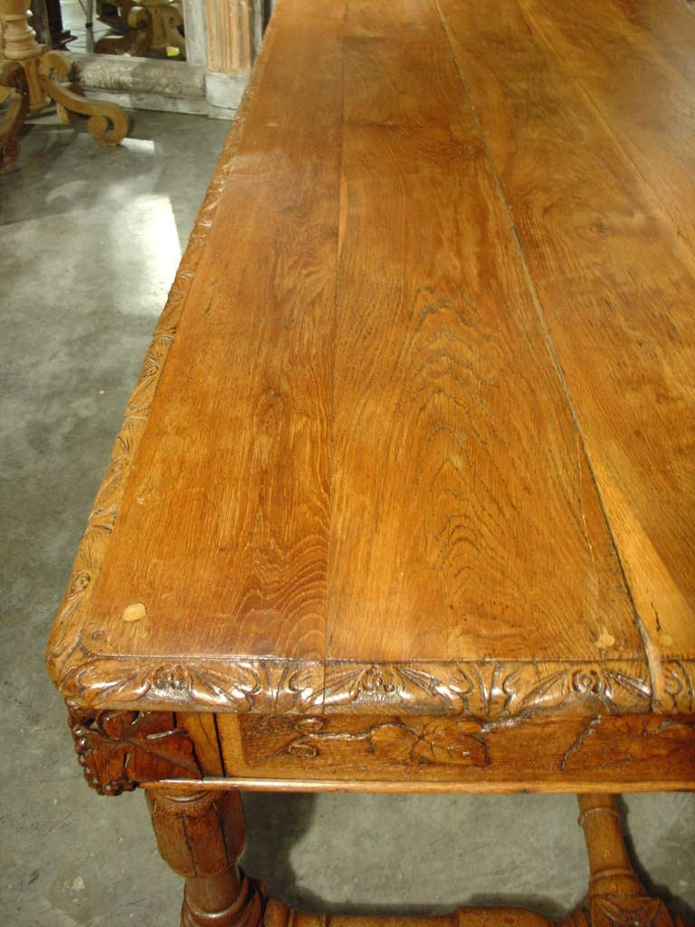 Beautiful Antique French Oak Table With Wine Grape Motifs