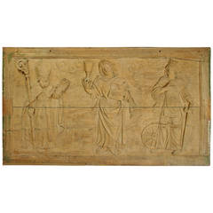 17th Century Carved Walnut Wood Plaque from France