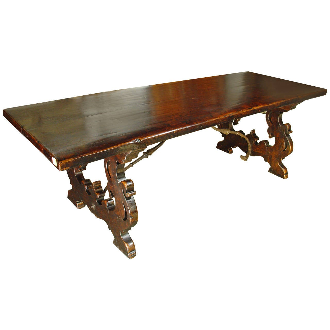 Antique Tuscan Walnut Wood Dining Table For Sale