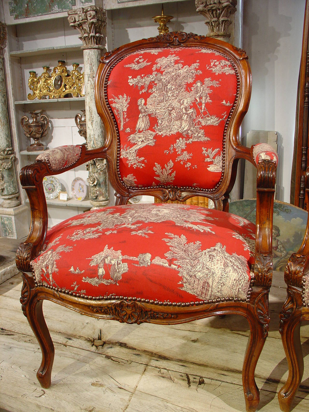 pair of louis xv style walnut fauteuils with toile de jouy upholstery at 1stdibs. Black Bedroom Furniture Sets. Home Design Ideas
