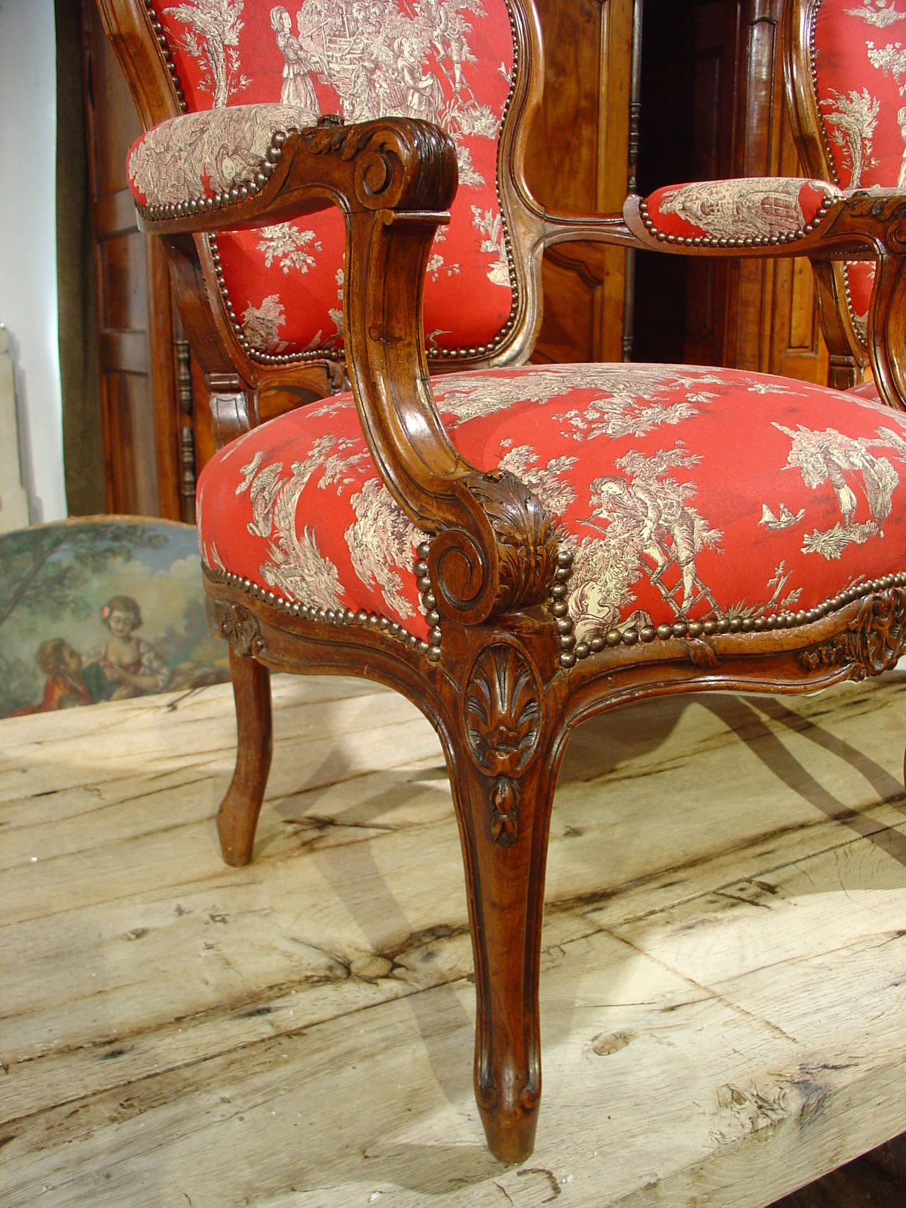 pair of louis xv style walnut fauteuils with toile de jouy upholstery for sale at 1stdibs. Black Bedroom Furniture Sets. Home Design Ideas