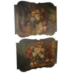 Pair of Antique Oil Paintings from France- Trumeau Tops