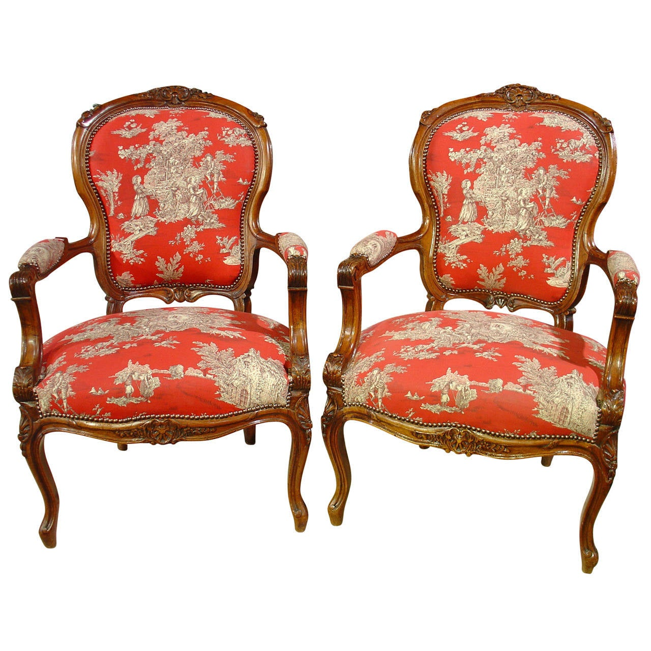 pair of louis xv style walnut fauteuils with toile de jouy. Black Bedroom Furniture Sets. Home Design Ideas