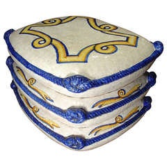 Decorative Stack of Majolica Pillows from Italy  Circa 1940
