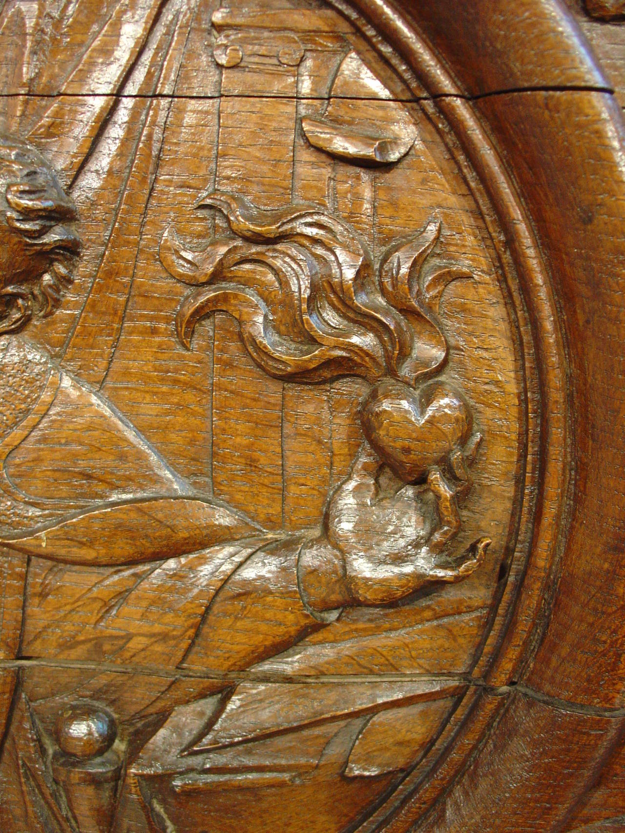 Th century french hand carved oak relief panel of st