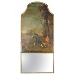 Large and Rare Period French Regence Trumeau Depicting a Hunting Scene