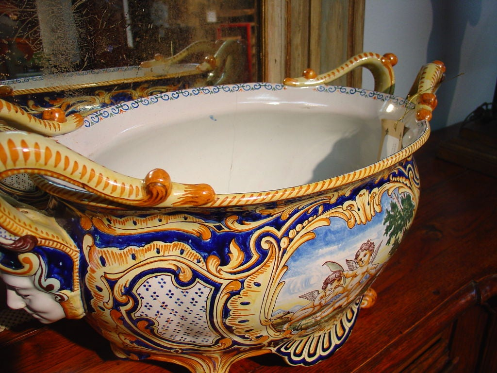 Antique French Jardiniere From Nevers, France 1800's 2