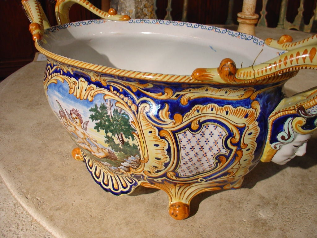 Antique French Jardiniere From Nevers, France 1800's 7