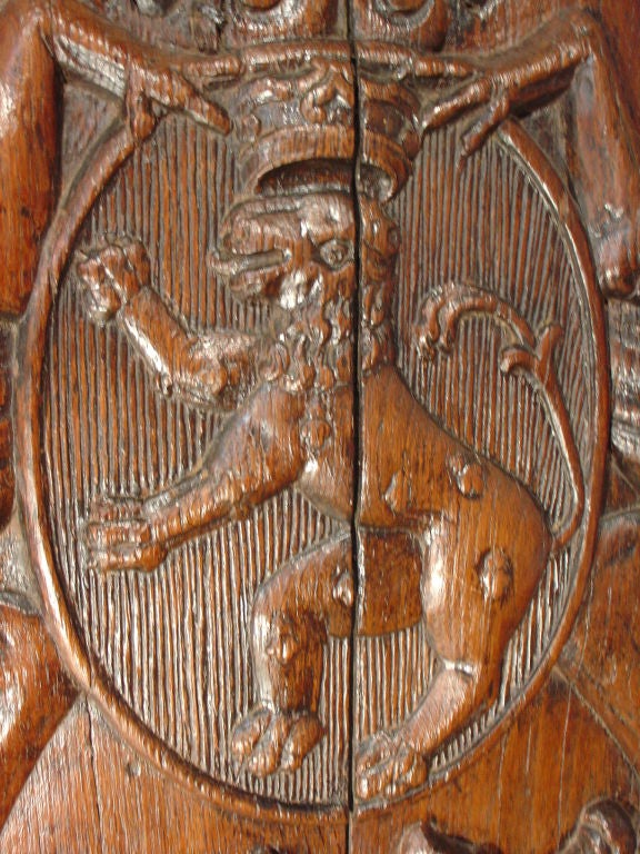 17th Century Antique Carved Armorial Oak Panel At 1stdibs