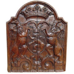 17th Century Antique Carved Armorial Oak Panel