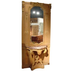 Antique Boiserie Panel with Marble Topped Console and Mirror