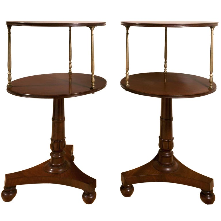 A Pair Of Regency Mahogany And Brass Two Tier Dumb Waiters