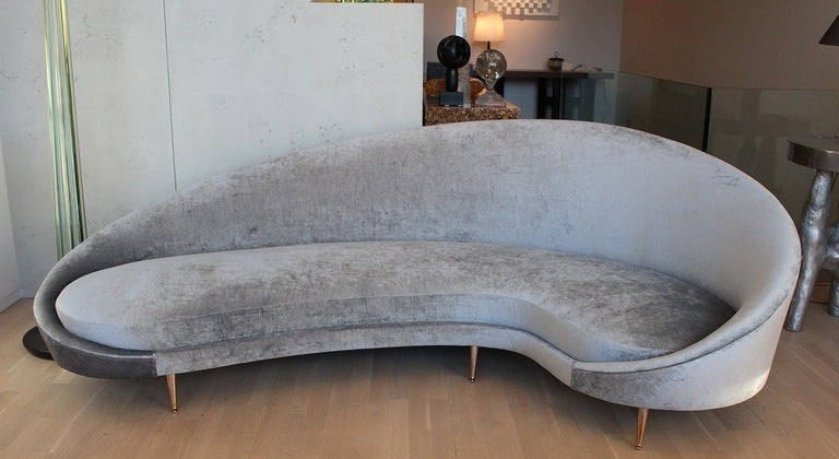 Curved Italian Sofa Attributed To Ico Parisi At 1stdibs