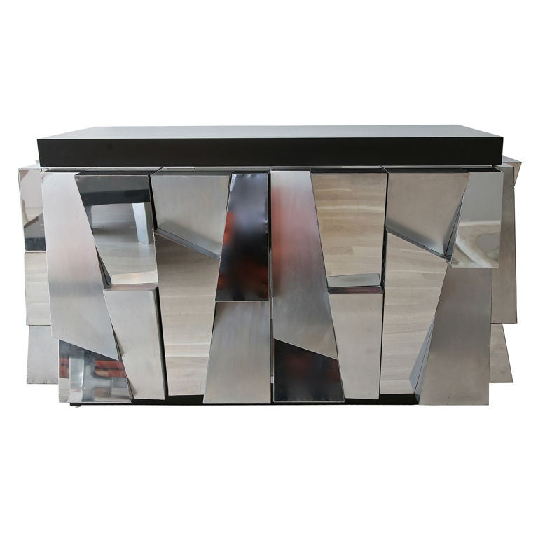 Faceted Steel Cabinet by Paul Evans at 1stdibs