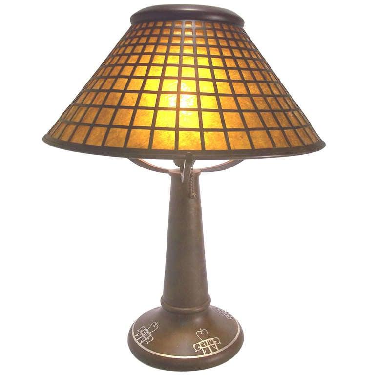 Heintz Art Metal Largest Crosshatch Lamp At 1stdibs
