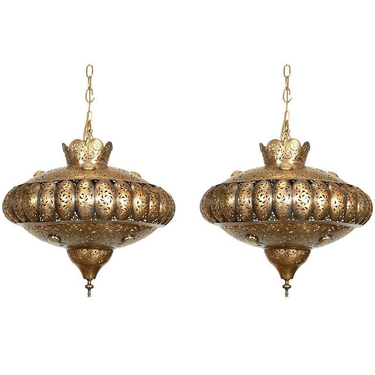 Moroccan Brass Pendants in Alberto Pinto Style / Pair