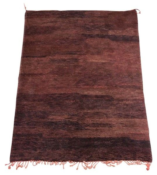 Vintage Tribal Moroccan Berber rug, different hues of browns and rust natural organic wool. This carpet is a gorgeous piece of Abstract Modernist Art.  From the Atlas Mountain of Morocco, hand woven by the Beni Ouarain Tribes. High pile, animal feel