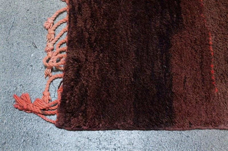 Vegetable Dyed Vintage Moroccan Brown Tribal Berber Rug For Sale