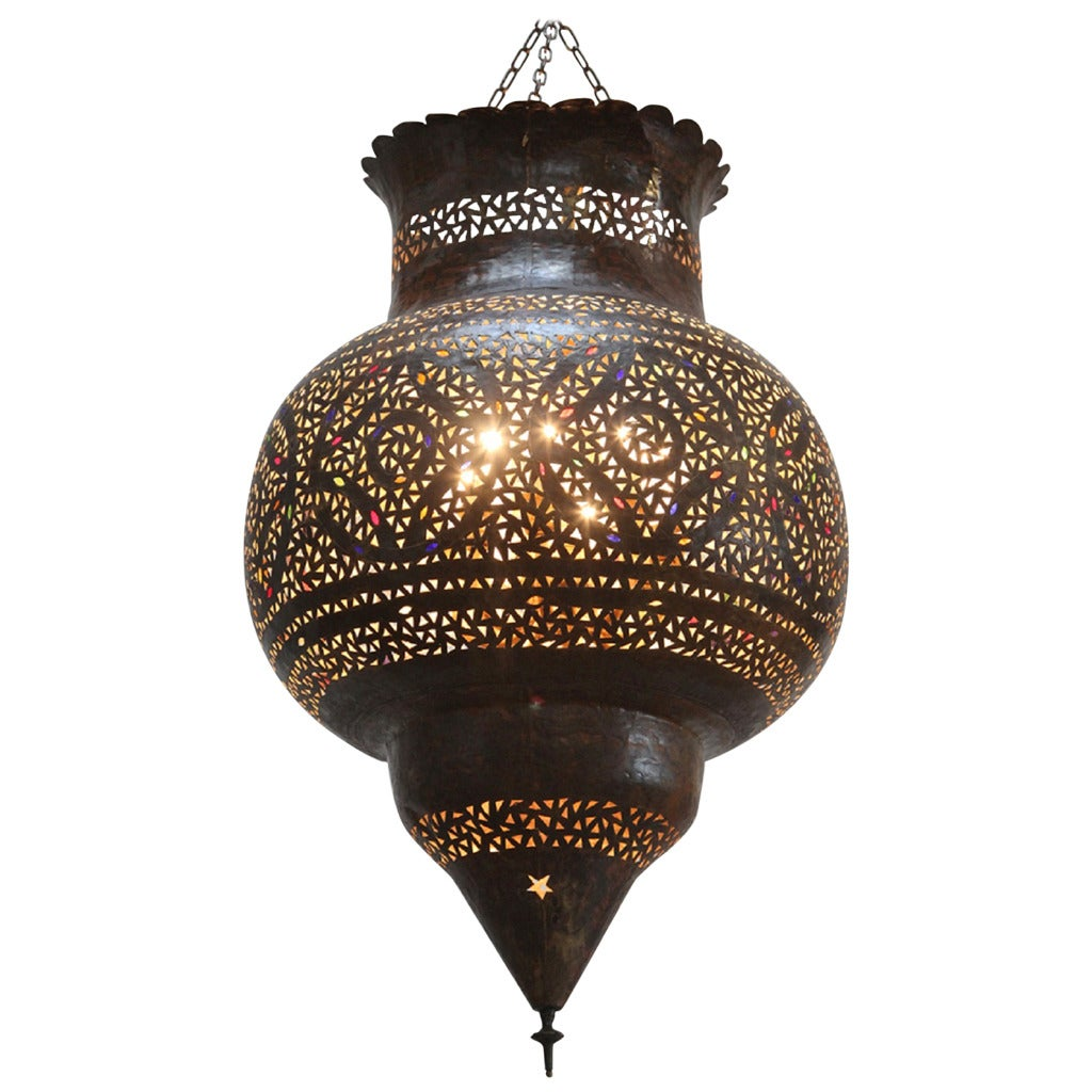 Hanging Lamp Moroccan: Large Moroccan Brass Hanging Lamp At 1stdibs