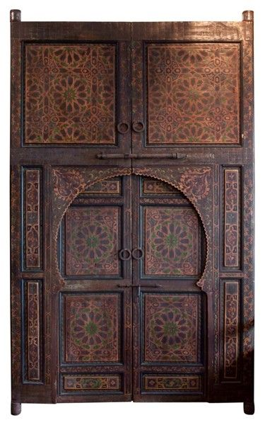 Magical pair of huge hand painted Moroccan Ryad courtyard doors with iron hardware. Alhambra style & Authentic pair of hand-painted Moroccan doors at 1stdibs