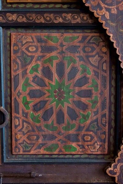 20th Century Authentic pair of hand-painted Moroccan doors For Sale - Authentic Pair Of Hand-painted Moroccan Doors At 1stdibs