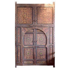 Authentic pair of hand-painted Moroccan doors