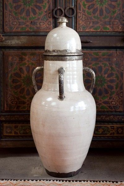 Large Olive Ceramic Urns With Lid From Morocco At 1stdibs