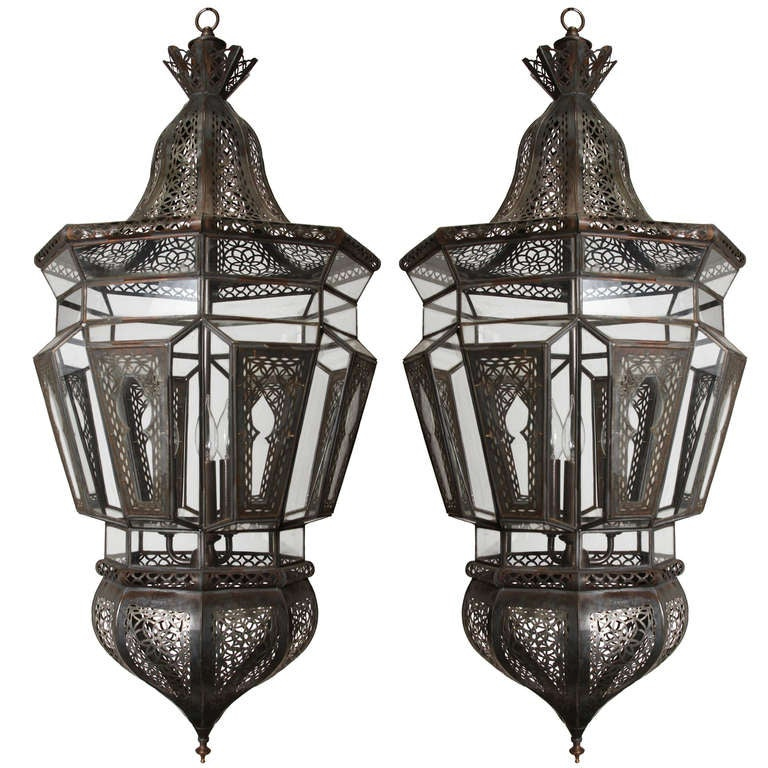 Pair of Moroccan Vintage Hanging Glass Light Fixtures
