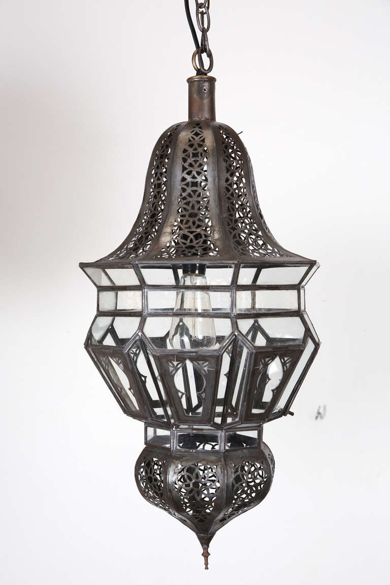 Moroccan Moorish Clear Glass With Intricate Metal Filigree Hanging Chandelier Delicately Handcrafted By Artisans In