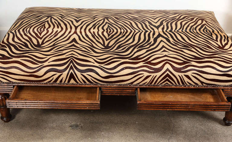 coffee table ottoman in leather hide at 1stdibs. Black Bedroom Furniture Sets. Home Design Ideas