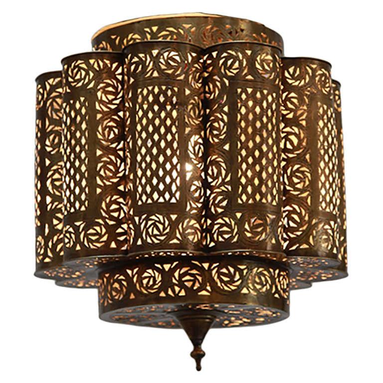 Pierced Brass Moroccan Light Fixture In Alberto Pinto