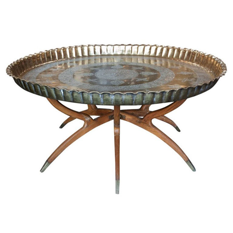 Moroccan Brass Tray Table 1