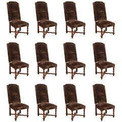 Set of 12 High Back Brown Velvet Spanish Dining Chairs