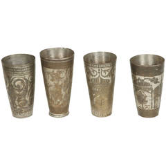 Middle Eastern Brass Engraved Beakers